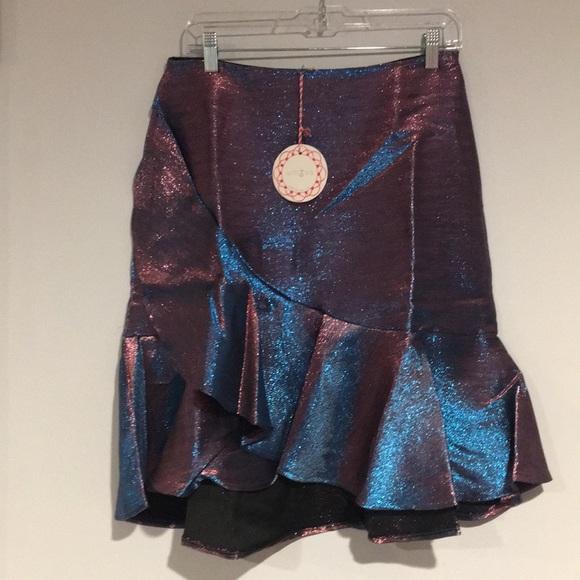 Umgee Dresses & Skirts - Umgee Blue and pink iridescent ruffled skirt